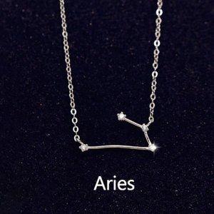 925 Sterling Silver Diamond Zodiac Necklace--Aries